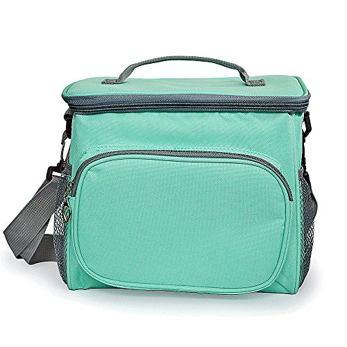 Insulated Resuable Bento Lunch Bag - Square Thermal Picnic Large Tote - Meal Prep Cooler Turquoise Lunch Box Organizer Waterproof Freezable with Shoulder Strap for Adults Kids Women Men Office&School ()