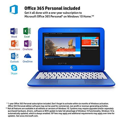 HP Stream 11-r010nr 11.6-Inch Notebook (Intel Celeron Processor, 2GB RAM, 32 GB Hard Drive, Windows 10 Home 64- Bit), Cobalt Blue