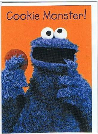 Sesame Street Cookie Monster Happy Birthday Greetings Card