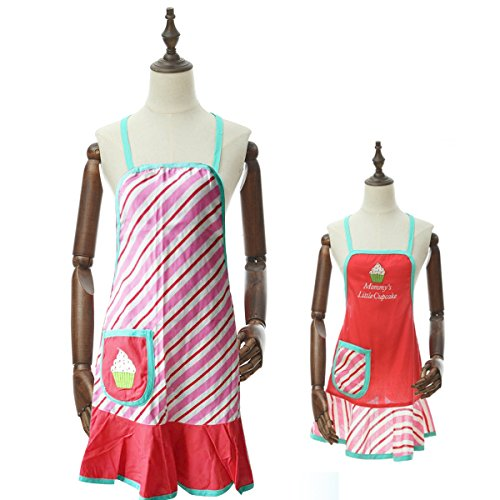 Designs Amelia Apron - ENJOY 11 Cotton Floral Design Home Kitchen Cake Apron (Mum and Girl, Red green icecream)