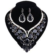 Women Bridal Rhinestone Crystal Statement Necklace Earring Wedding Dress Jewelry Sets