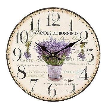 Romantische Uhr mit Lavendelstrauß 28 cm Lavendel Wanduhr im Landhausstil