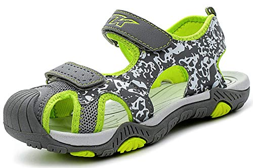 Littleplum Boys Sandals Hiking Athletic Closed-Toe Beach Sandals Kids Summer Shoes Green Grey 5 M US Big Kid