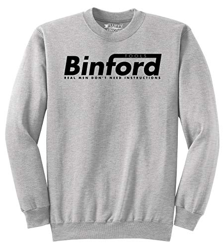 Men's Crewneck Sweatshirt Binford Tools Funny Home Improvement Movie Shirt Ash Grey - Improvement Tool Time Home