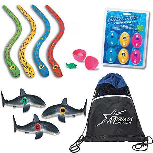 Swimline Underwater Swimming/Diving Pool Toys Set of 3: Turtle Eggs Dive Game, Eel Sticks Dive Game & Shark Frenzy Dive Game with a Drawstring Bag