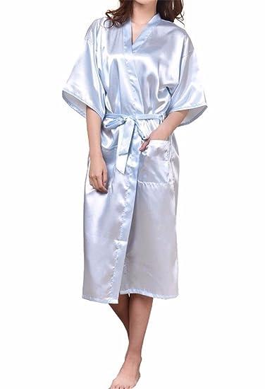 Yall Señora Pijamas Imitación Seda Seda De Color Puro Batas, XL, Lblue: Amazon.es: Ropa y accesorios