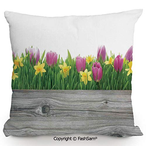 (FashSam Decorative Throw Pillow Cover Spring Tulips and Daffodils Flowers Blossoms in Vibrant Colors with Wood Plank for Pillow Cover for Living Room(24