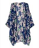ACEFAST INC Vintage Women Girls Floral Print Long Loose Kimono Jacket Coat Cardigan Blouses (Medium, Blue)