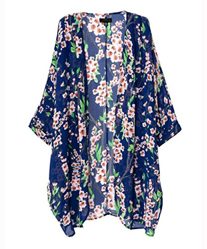 Women Girls Floral Print Long Loose Kimono Jacket Coat Cardigan Blouses Blue, Large (Floral Wool Coat)