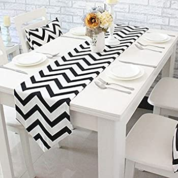 Uphome 1pc Classical Chevron Zig Zag Pattern Table Runner   Cotton Canvas  Fabric Table Top Decoration