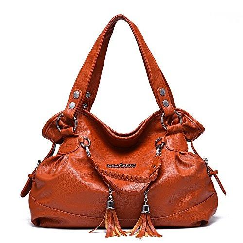 cuero simple mujeres del la de de hombro la grande de bolso de de saco la Bolso capacidad con manija las manera Brown del bolso la manera de doble wTYEc
