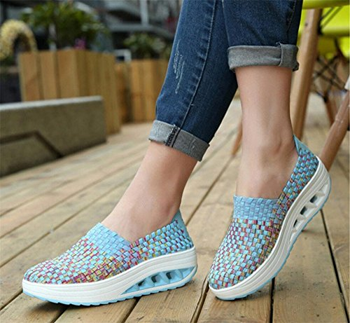 Blue Comfortable Walking Lose Shake Platform Women's Shoes Wedge Shoes BeautyOriginal Weight Slip on Breathable zwOZcqS