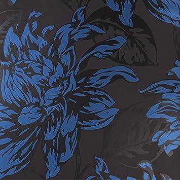 Harlequin Home Decor Flat Floral Design Kitchen And Living Room Wallpaper Roll Blue Black