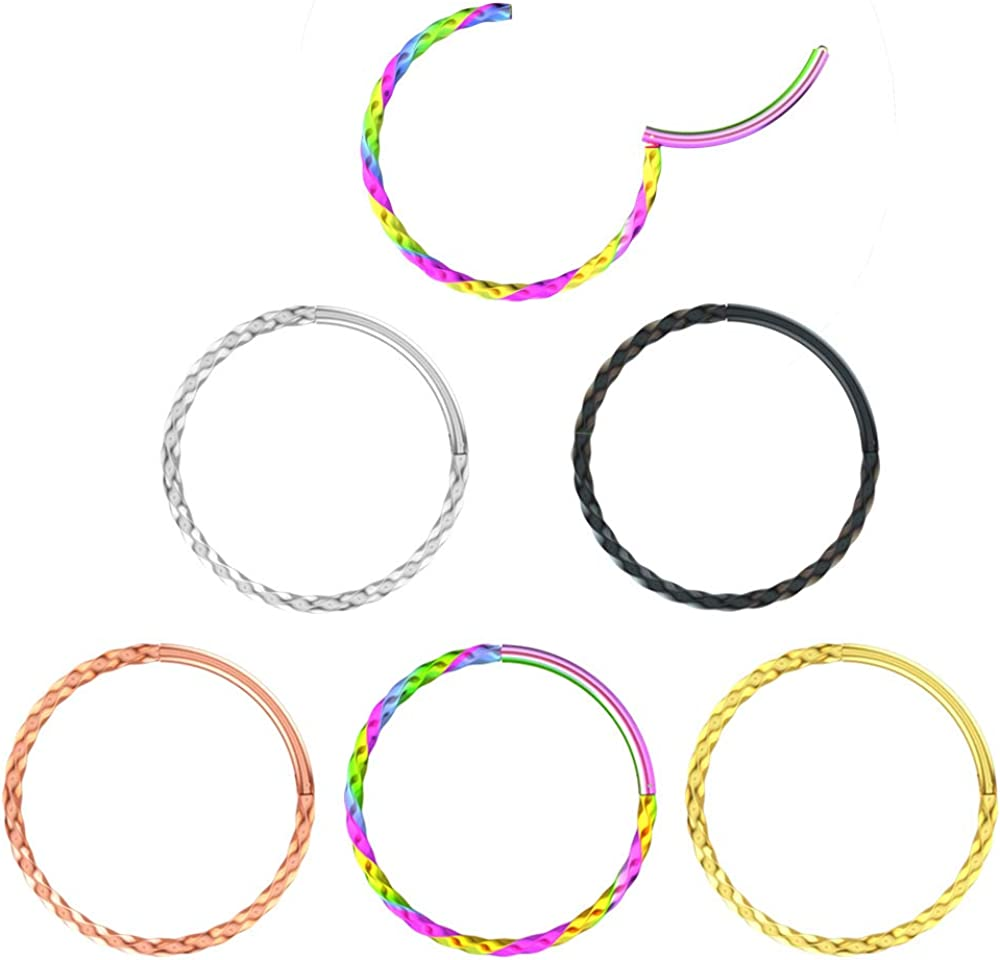 TOPBRIGHT 5-8pcs Seamless Septum Rings Clicker Stainless Steel 16g Helix Earrings for Daith and Lip Piercing Ring