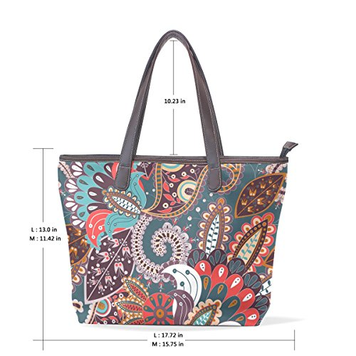 360 Print Pant Fox (Bohemian Floral Print Women's Fashion Large Tote Shoulder Bag Ladies Handbag)