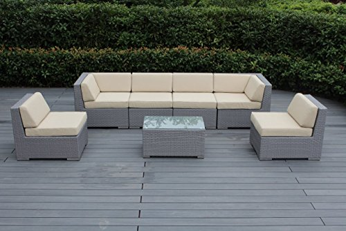 Ohana 7-Piece Outdoor Patio Furniture Sectional Conversation Set, Gray Wicker with Beige Cushions - No Assembly with Free Patio Cover