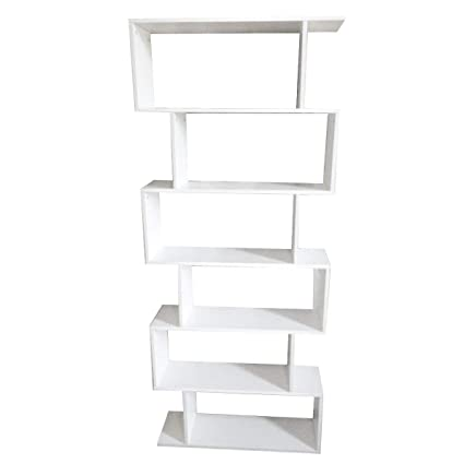 White S Shaped 6 Tier Open Concept Bookcase Modern Bookshelf Storage Shelves Perfect For Storing