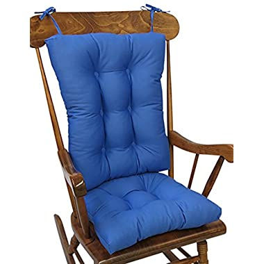 The Gripper Non-Slip Twill Jumbo Rocking Chair Cushions, Blue Summer