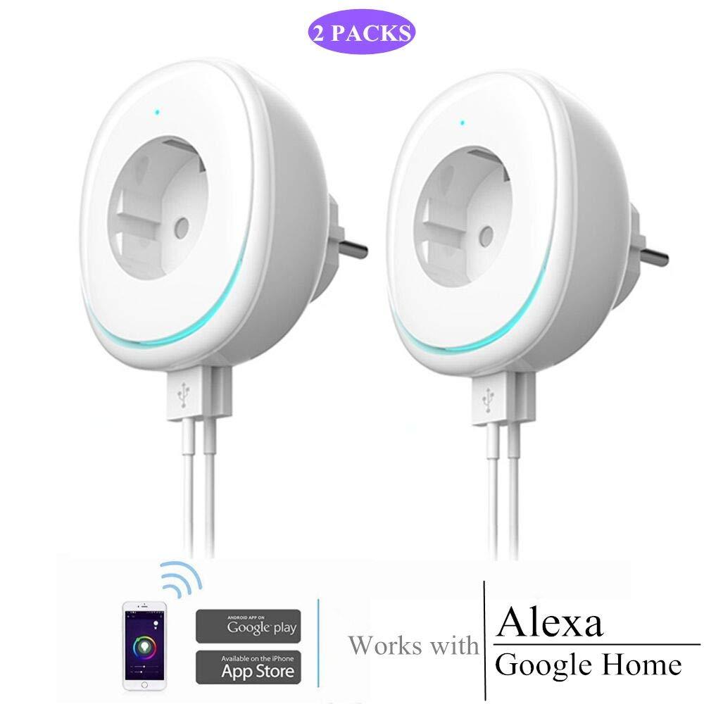 1/2 paquetes mini tomacorrientes de alimentació n inteligente habilitados para WiFi, 1 puertos de carga de CA y 2 puertos de carga de USB, compatibles con Alexa, asistente de Google Home (enchufe de la UE) (2 x enchufe de la UE) ECOOLBUY