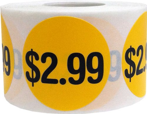 $2.99 Price Point Stickers - Round Yellow and Black Retail Store Self Adhesive Labels - 500 Total Labels