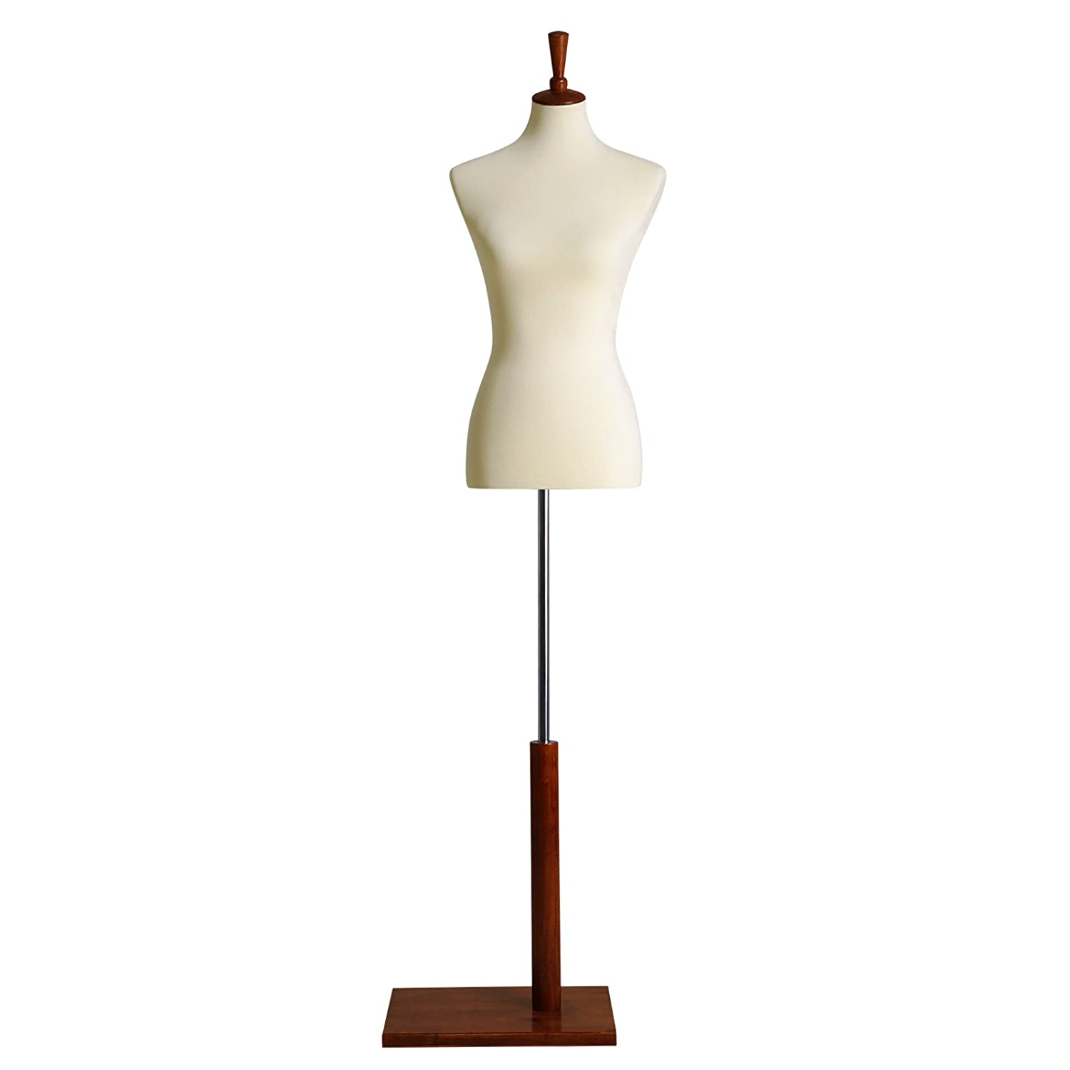 SONGMICS Female Mannequin Torso Body Dress Form with Tripod Stand, Medium Size 6-8, 34 26 35, Non-Straight Pinnable, Adjustable Height, for Dress Clothing Display Beige UMDF03BE 34 26 35