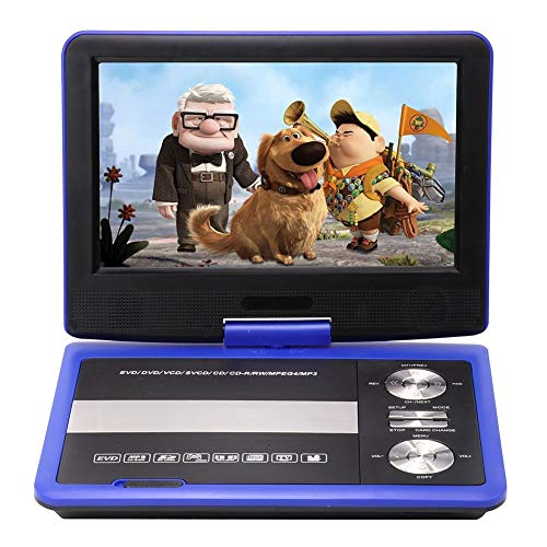 FFQNG Portable HD DVD Player, 9'' LED LCD Player, 270° Rotating Screen, Support for SD Card USB Port and Multiple Disc Formats