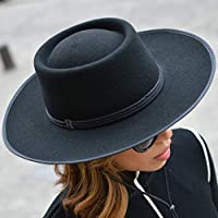 RACEU ATELIER Sombrero Billy Negro Raceu Atelier - 100% Fieltro de Lana - Resistente al Agua - Ala 7cm - Sombreros Mujer Hombre Unisex Invierno - Cowboy