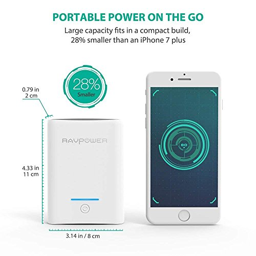 Portable Charger RAVPower 10000mAh Power Banks, Ultra-Compact 10000 Battery Pack with 3.4A Output, Dual iSmart 2.0 USB Ports, Portable Phone Charger for iPhone, iPad and More (White) by RAVPower (Image #5)