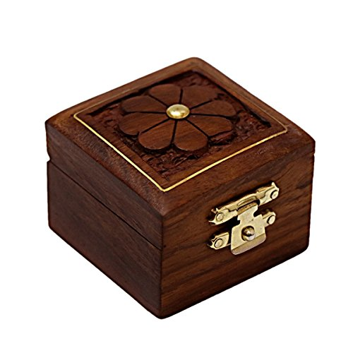 Hashcart Indian Artisan, Handmade & Handcrafted Wooden Jewelry Box/Jewelry Storage Organizer/Trinket Jewelry Box with Traditional Design and Brass Inlay Work