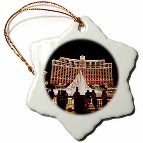 Bellagio Hotel Las Vegas - 3dRose orn_92182_1 Nevada, Las Vegas, Bellagio Hotel and Casina-Us29 Bbr0061-Brent Bergherm-Snowflake Ornament, 3-Inch, Porcelain