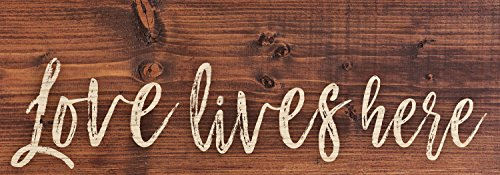 P. Graham Dunn Love Lives Here Script Design Distressed 16 x 6 Inch Solid Pine Wood Plank Wall Plaque Sign