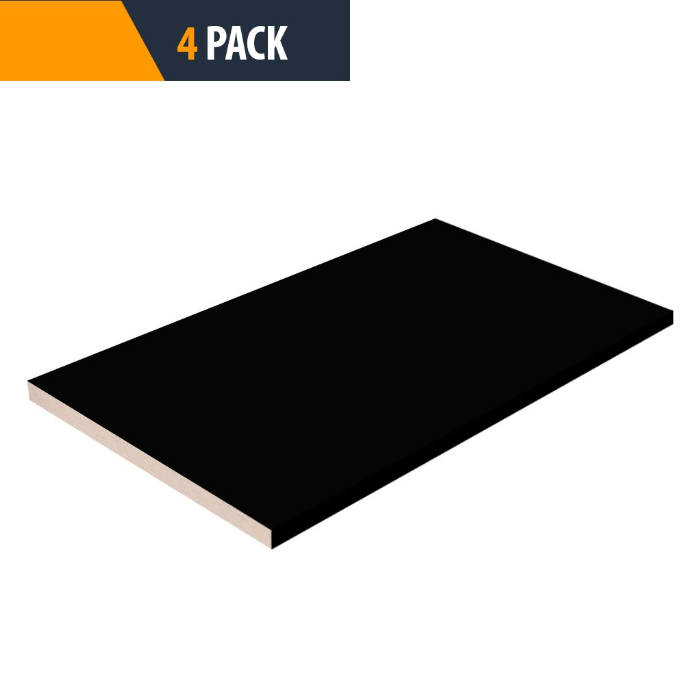 Pro Pack 4 - Black Closet Shelves Melamine - Choose Your Accurate Size (1/4, 1/2, 3/4) by TFKitchen
