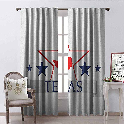 GloriaJohnson Texas Star Heat Insulation Curtain San Antonio Dallas Houston Austin Map with Stars Pattern USA for Living Room or Bedroom W52 x L84 Inch Navy Blue Vermilion Pale Grey