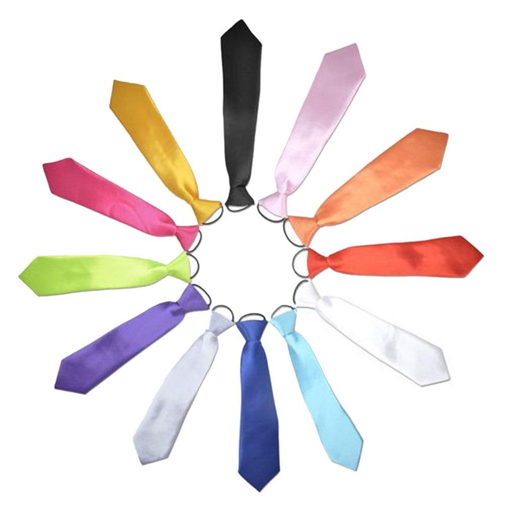 TopTie Wholesale 12 Pcs Kid's Solid Color Neckties, 10 Inch Ties NBCH-DF11814