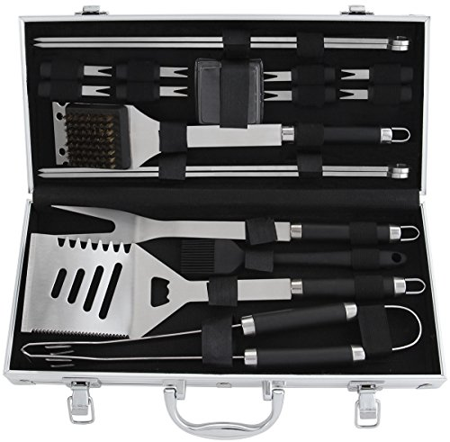 POLIGO 19-Piece BBQ Grill Tools Set - Heavy Duty Stainless Steel Barbecue Grilling Utensils Kit Set With Aluminum Case - Premium Grilling Accessories for Barbecue - Birthday Gift for Men by POLIGO