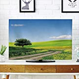 iPrint LCD TV Cover Lovely,Nature,Rural Country Scenery with Floral Grass Field Tree Idyllic Landscape,Apple Green Light Blue,Diversified Design Compatible 37'' TV