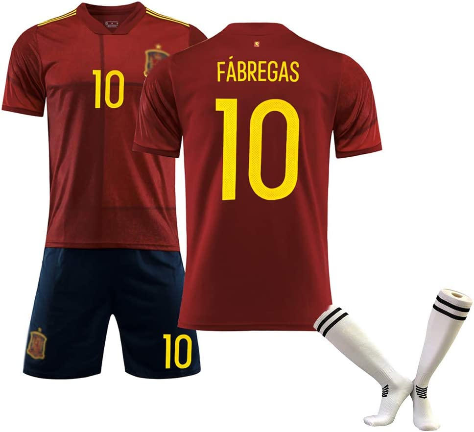 Nettoyage r/ép/étable Choix des Supporters Uniforme de Football pour Hommes Fabregas10 Morata7 Coupe deurope Espagne Ensemble de Gilet de Football /à Domicile et /à lext/érieur