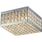 Olwenn Square Chrome-finish Crystal 5-inch 4-light Flush-mount Fixture coupons 2017