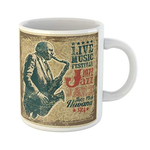(Semtomn Funny Coffee Mug Retro Design Live Music Festival Jazz with Saxophonist Grunge Background 11 Oz Ceramic Coffee Mugs Tea Cup Best Gift Or)
