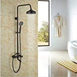 GOWE Rainfall Shower Head With Handheld Oil Rubbed Bronze Shower Faucet Bath Shower Set Exposed