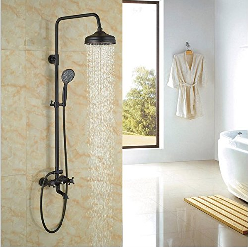 GOWE Rainfall Shower Head With Handheld Oil Rubbed Bronze Shower Faucet Bath Shower Set Exposed by Gowe