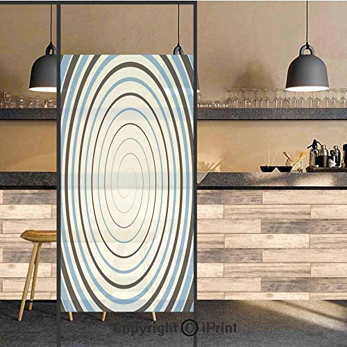 3D Decorative Privacy Window Films,Double Spiral Pattern Emanates from One Point Turns around Axis Retro Image,No-Glue Self Static Cling Glass film for Home Bedroom Bathroom Kitchen Office 17.5x71 Inc
