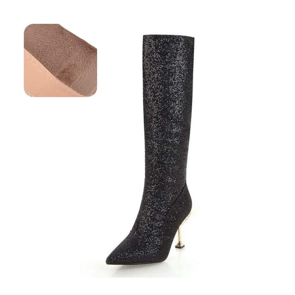 HAOLIEQUAN Größe 32-43 Kniehohe Winterstiefel Frauen High Heel Lange Stiefel Warme Frau Schuhe Bling Lady Party Schuhe