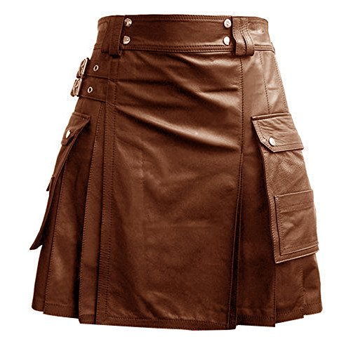 Mens Black Brown Leather Gladiator Utility Kilt Flat Front Twin Cargo Pockets (L-K5T) (42
