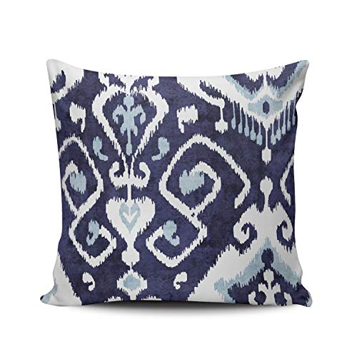 ONGING Decorative Throw Pillow Case Modern Chic Decorative Blue and White Ikat Pillowcase Cushion Cover One Side Design Printed Square Size 16x16 - Design Modern Chic