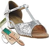 Women's Ballroom Dance Shoes Salsa Latin Practice Dance Shoes Silver Sparkle 801EB Comfortable - Very Fine 1.5'' Heel 7.5 M US [Bundle of 5]