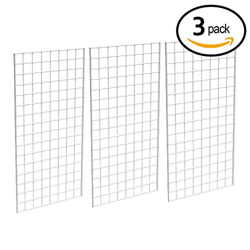 Grid Panel for Retail Display – Perfect Metal Grid for Any Retail Display, 2' Width x 4' Height, 3 Grids Per Carton (White) ()