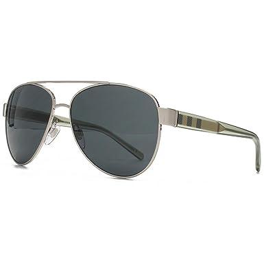 Burberry Rayure Temple Aviator lunettes de soleil en argent brossé BE3084  116687 57 57 Grey ae2d09a4b0fa