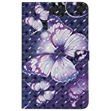Gostyle Samsung Galaxy Tab E 9.6'' T560 Leather Wallet Full Body Slim Case with Credit Card Slots,Flip Smart Stand Cover Auto Sleep/Wake Feature-3D Purple Butterfly
