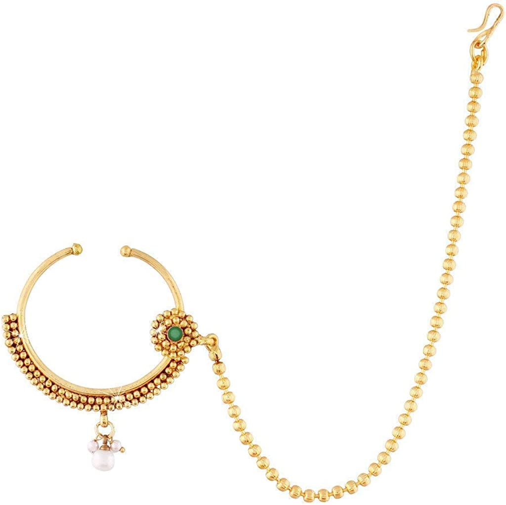 Body Jewellery Other Body Jewellery Jewellery Watches Indian Designer Gold Plated Nose Ring Bridal Jewelry Nath Pearls Gold Body Jewellery Testelfe It
